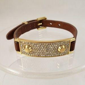 Michael Kors Crystal Glitz Pave Leather Bracelet
